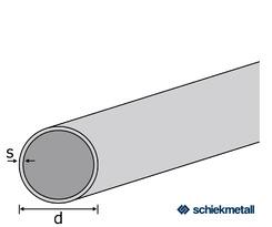 1.4301 Deko- Rundrohr 20x1,5 mm TIG-geschweißt geglüht geschliffen EZL   6 m + Schutzschlauch
