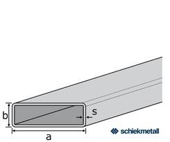 1.4301 Deko- Flachkantrohr 20x10x1,2 mm HF-geschweißt  geschliffen  EZL  6 m + Schutzschlauch