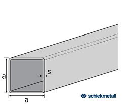 1.4301 Deko- Vierkantrohr 20x20x1,2 mm HF-geschweißt  geschliffen  EZL  6 m + Schutzschlauch
