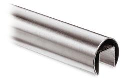 1.4301 Geländernutrohr rund 42,4x1,5 mm mit Nut 24x24 mm geschliffen EZL 5 m + Schutzschlauch  13.6920.042.12