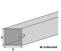 Alu-Vierkantrohr EN-AW 6060 (AlMgSi0,5) 15x15x1,5 mm gepresst T66 EZL 6 m