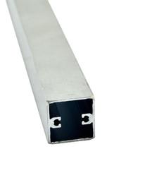 Vierkantrohr mit Schraubkanal EN-AW 6060 (AlMgSi0,5) 24,8x24,8x1,2 gepr. T66 EN755-9 EZL 6,5 m