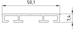 Alu Flachdeckschiene System 50 (50,1x7,4mm) blank EZL 6 m